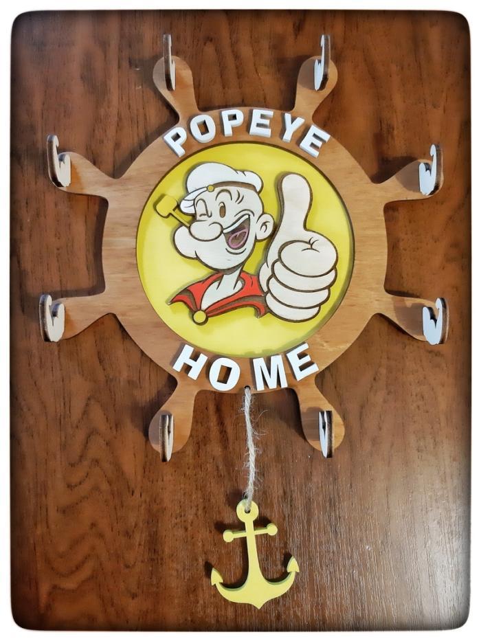 Popeye Home Hanger Hook Wooden Free CDR Vectors Art