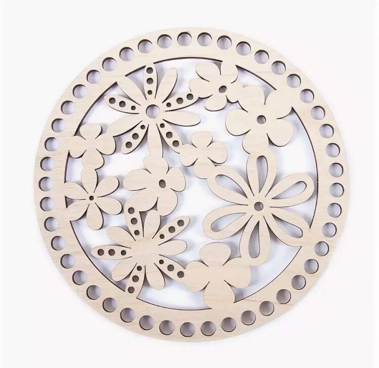 Wooden Bottom Lid For Baskets With Pattern ak15 20 Cm Free CDR Vectors Art
