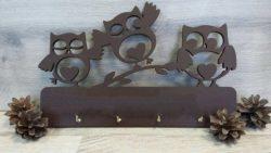 Cnc Laser Cut Three Owl Key Holder Free CDR Vectors Art