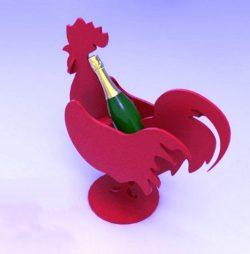 Cnc Laser Cut Wine Bottle Holder Rooster Free CDR Vectors Art