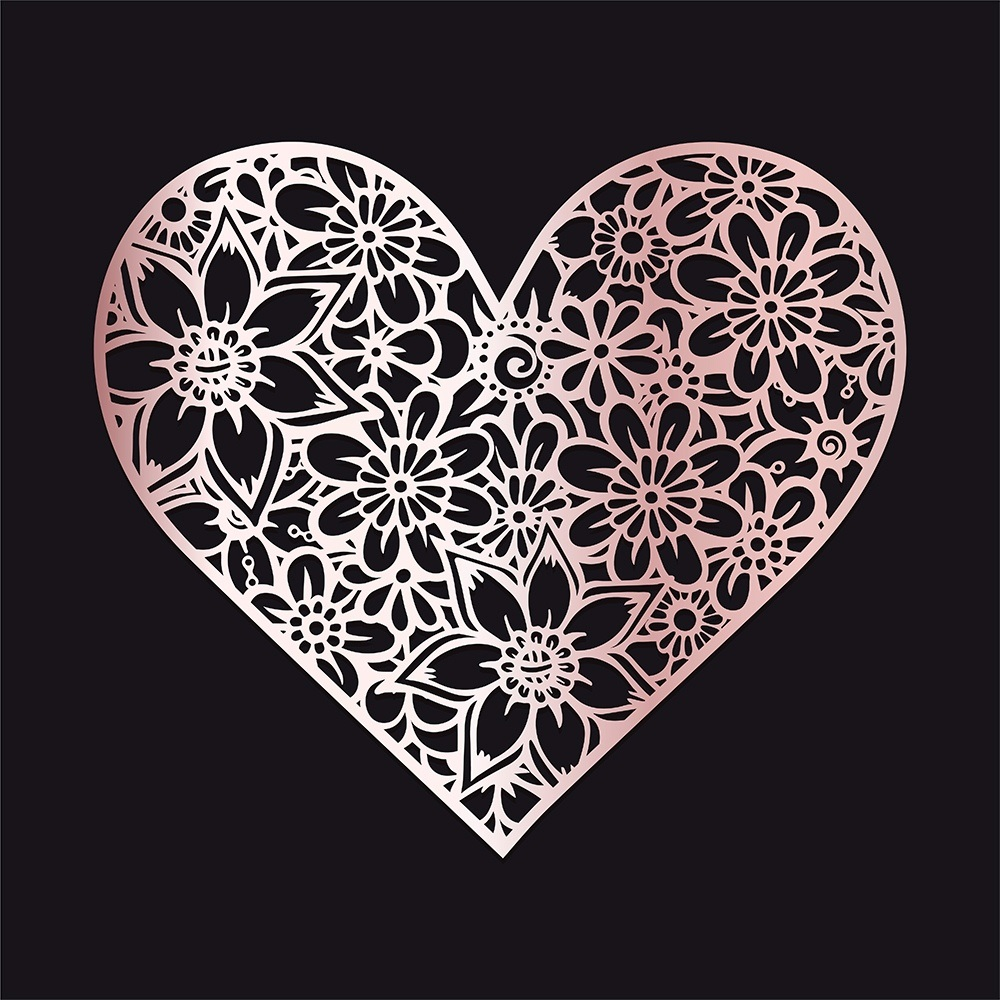Laser Cut Engraving Floral Heart Free DXF File