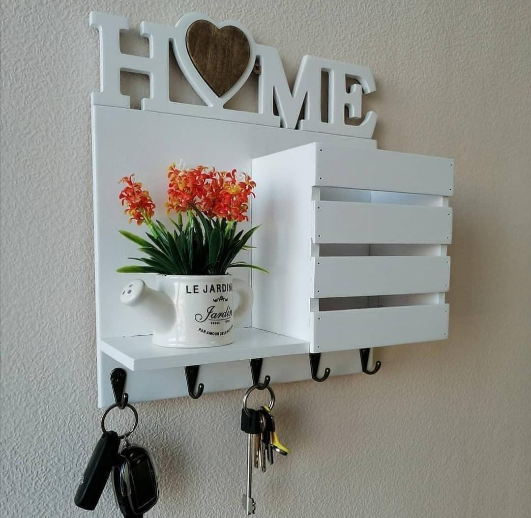 Laser Cut Keys Hanger With Wall Shelf And Mail Holder Free CDR Vectors Art