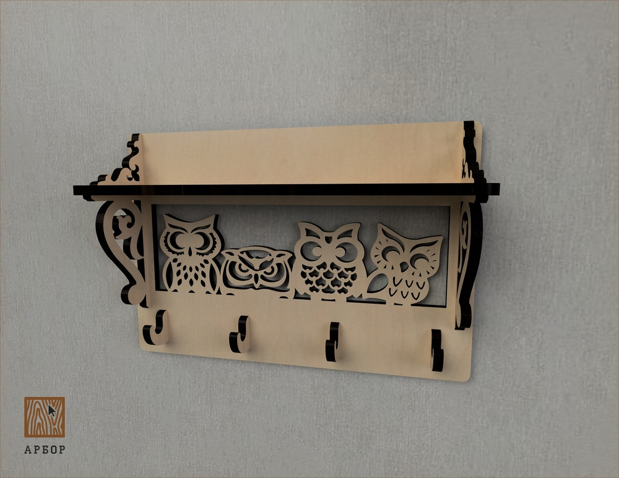 Laser Cut Owl Decor Shelf With Wall Hanger Free CDR Vectors Art