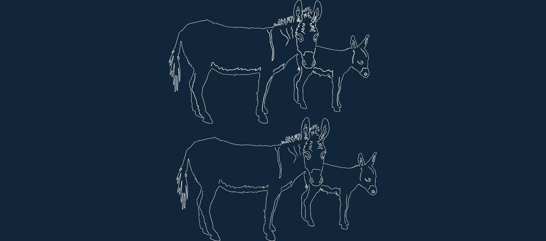 Animal Donkeys Free DXF File