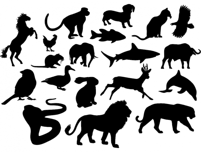 Animal Silhouettes Free DXF File