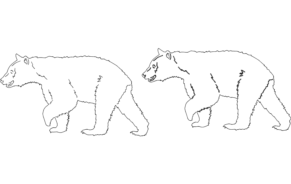 Animal Bear Line Art Free DXF File