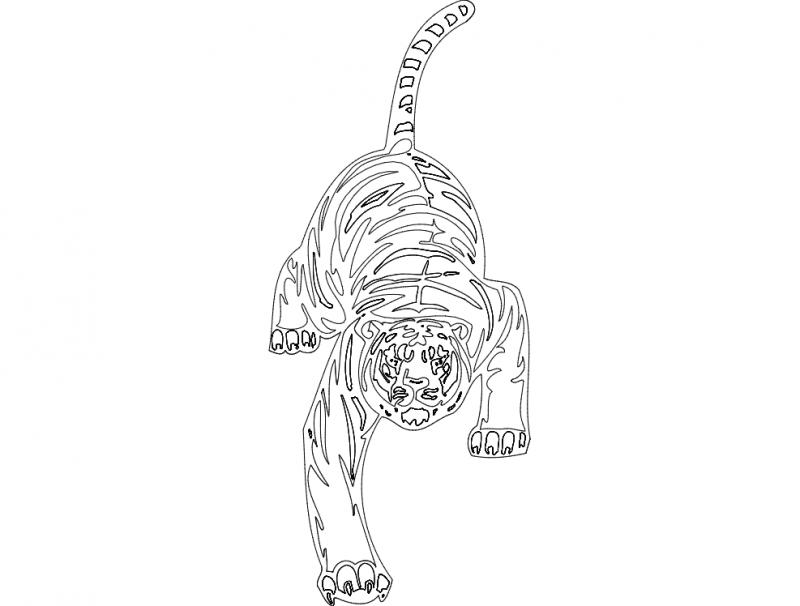 Cheetah Animal Mascot Free DXF File