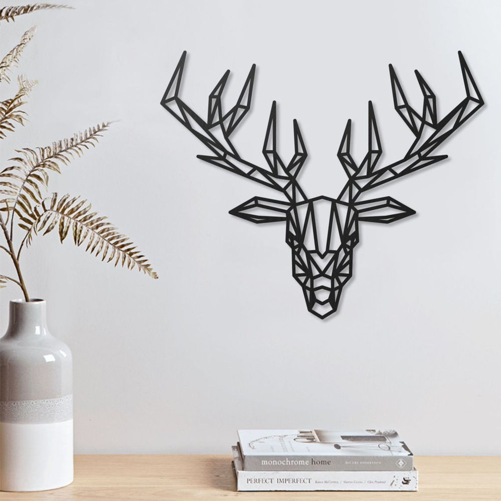 Deer Geometric Polygonal Modern Decor Animal Wall Art Free DXF File