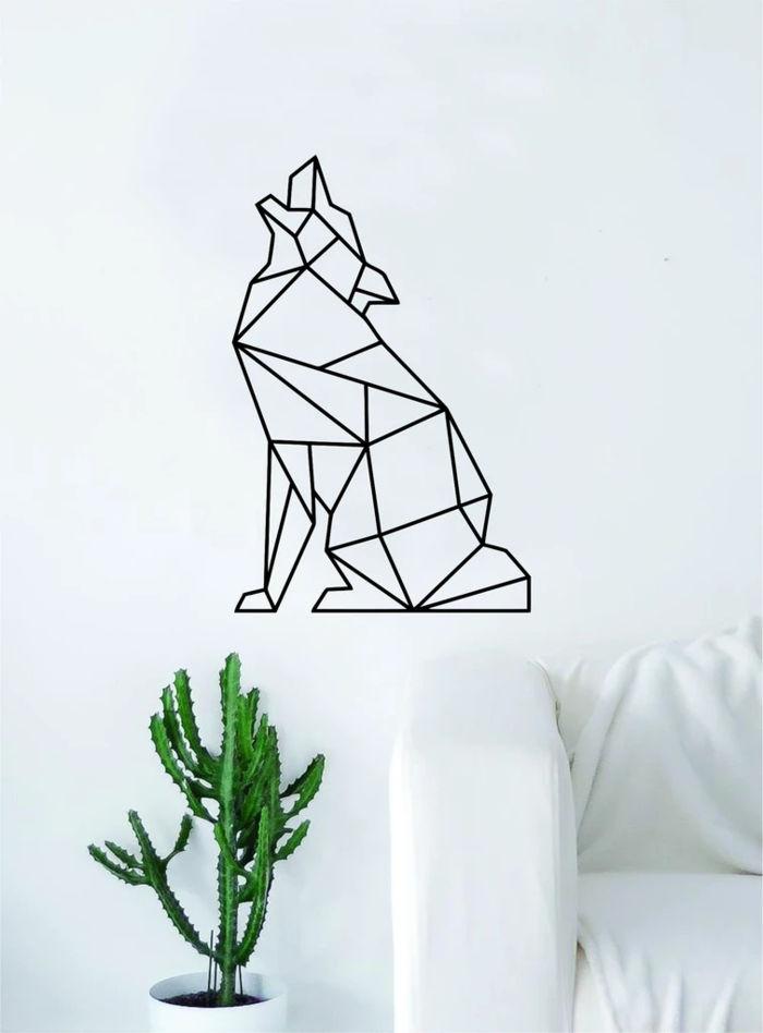 Geometric Wolf Howling Animal Wall Decor Art Free DXF File