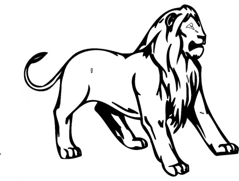 Lion Animal Mascot Free DXF File