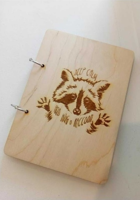 Engraving Raccoon On Notebook Free DXF File