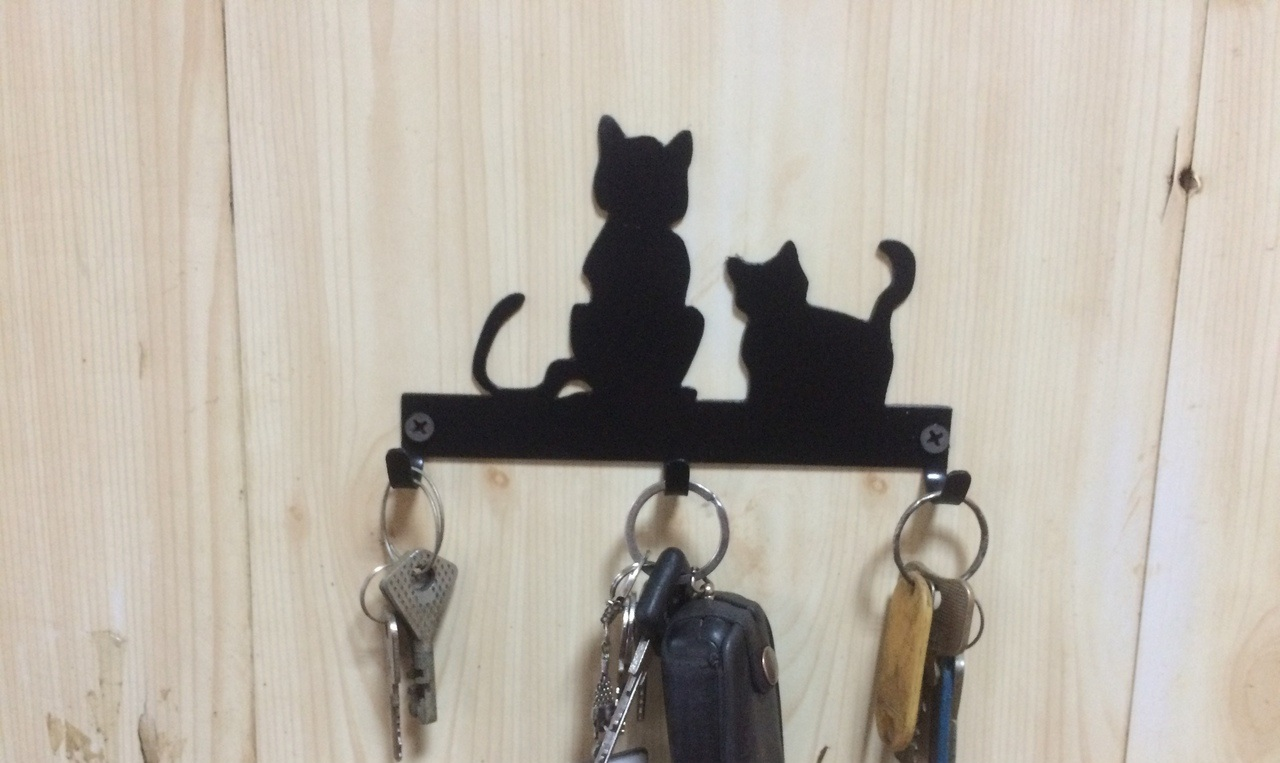 Cats Key Hanger Hooks Wall Mounted Storage Holder Free DXF File