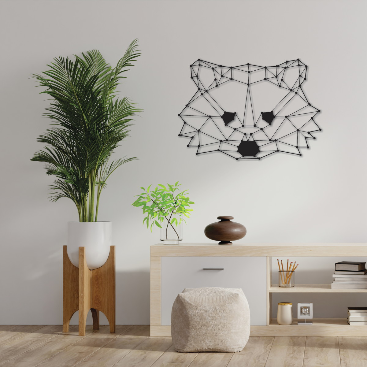 Polygon Raccoon Wall Art Free DXF File