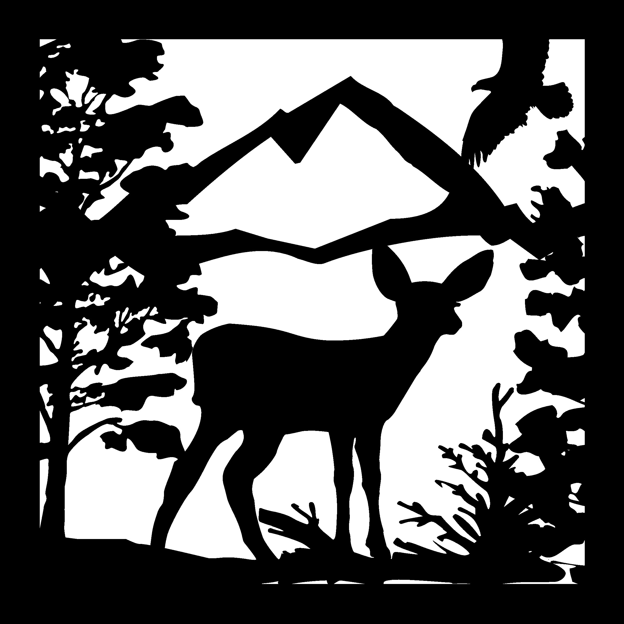 24 X 24 Deer Fawn Eagle Mountains Plasma Art Free DXF File