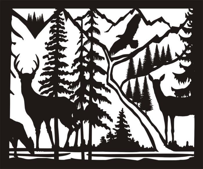 30 X 36 Doe Buck Doe Eagle River Plasma Metal Art Free DXF File