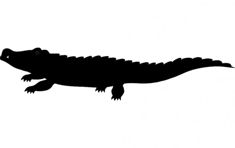 Crocodile Silhouette Vector Free DXF File