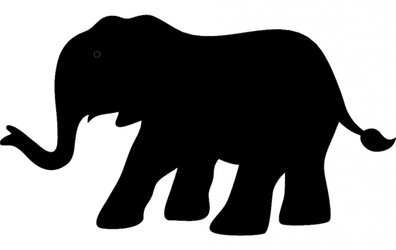 Elephant Silhouette Vector Free DXF File