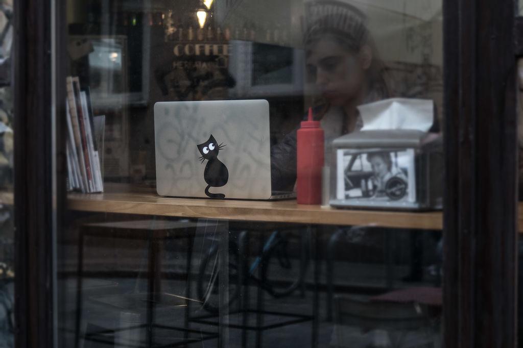 Laptop Sticker Cat 8x15cm Free DXF File
