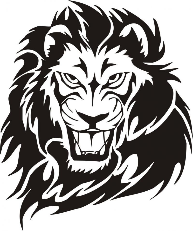 Tribal Lion Tattoo Design Vector Free DXF File