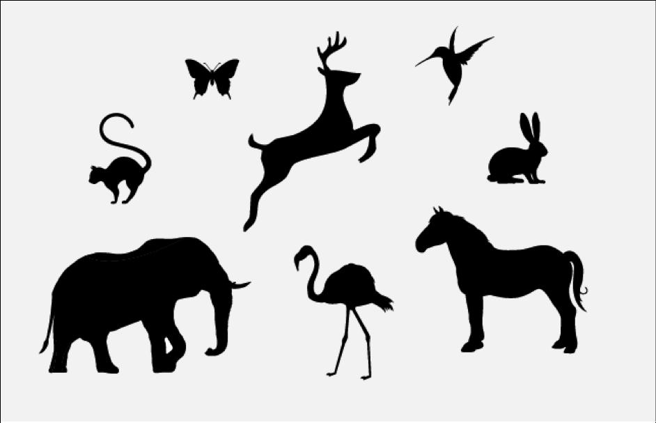 Wildlife Animals Silhouette Stencil Free DXF File
