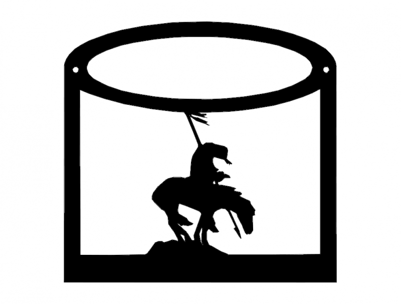 Horse Rider with Flag Silhouette Free DXF File