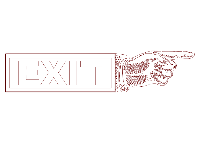 Point Hand Exit Logo Free DXF File