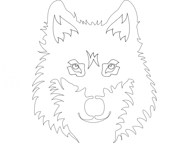 Wolf Face Line Art Free DXF File