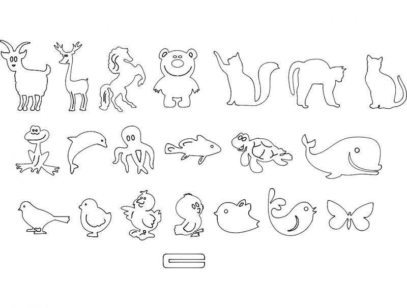 животные детские Free DXF File