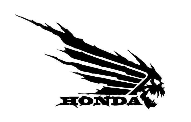 Honda Wing Skull Decal Sticker Logo Free DXF File