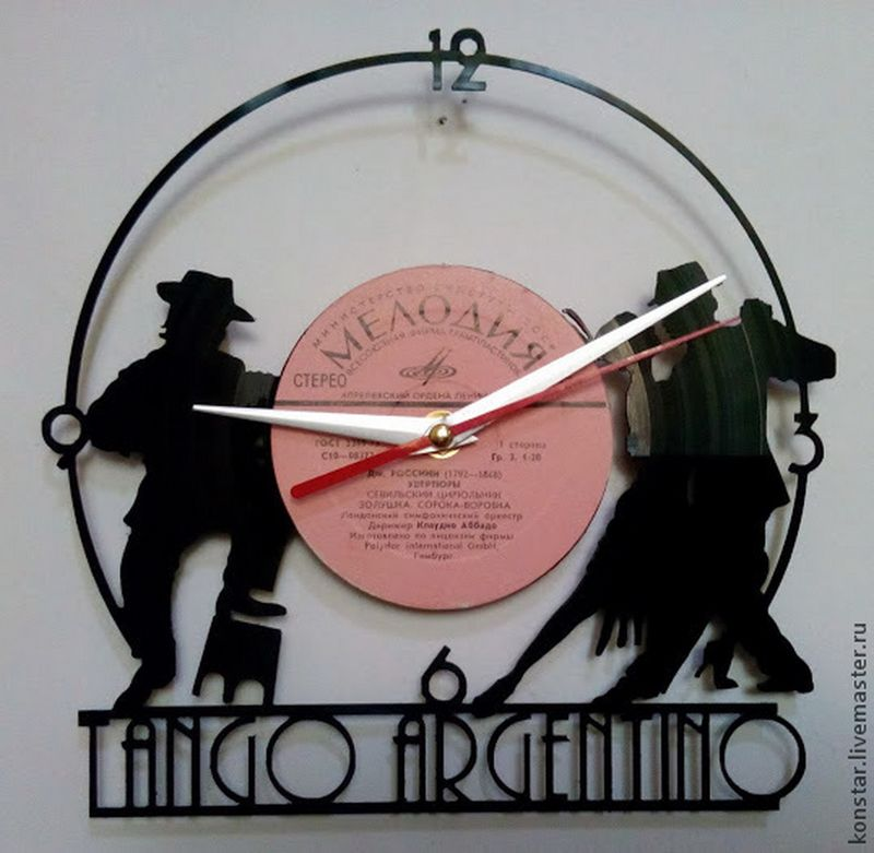 Tango Argentino Vinyl Record Wall Clock Free DXF File