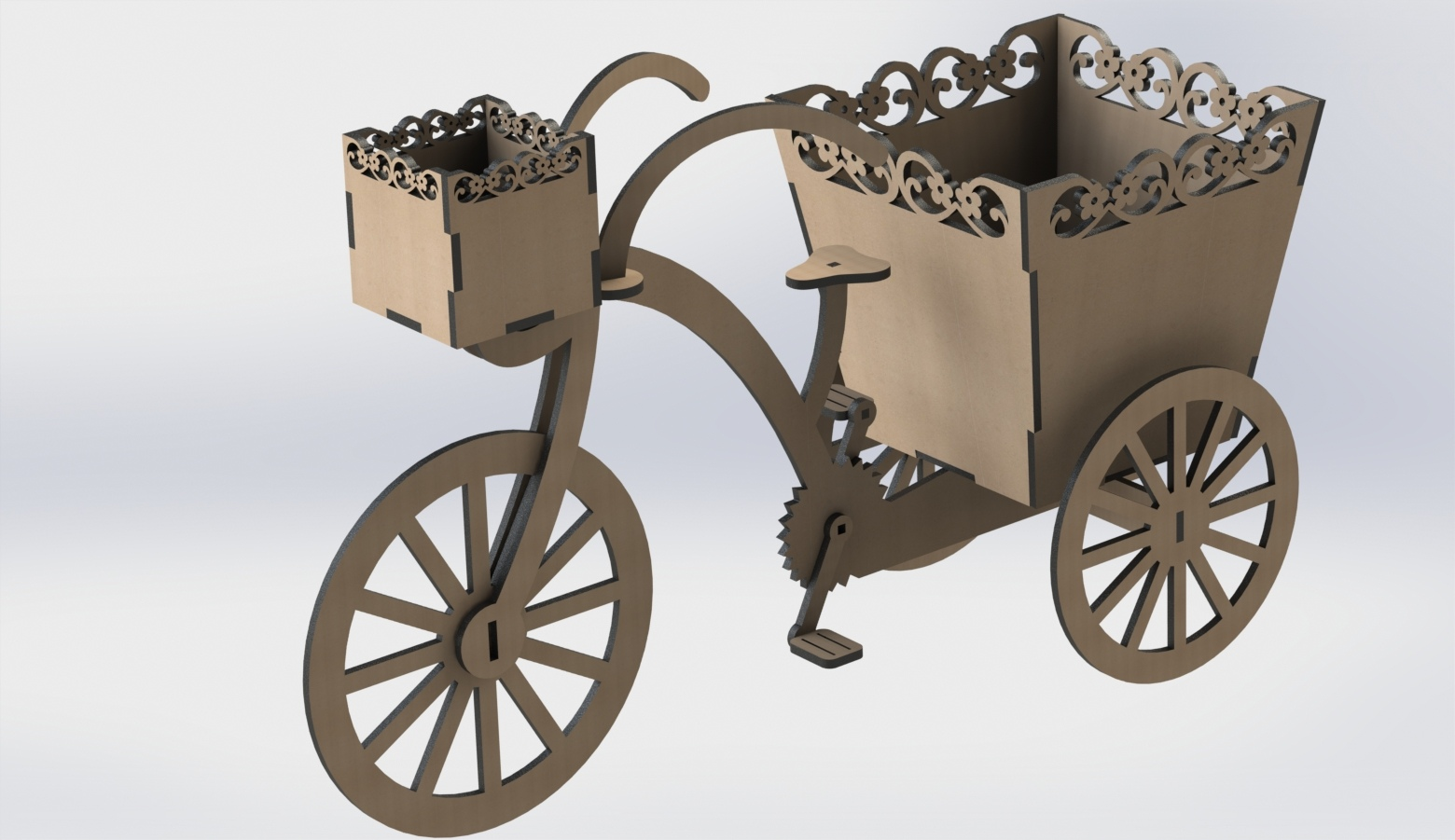 Laser Cut Decorative Tricycle Flower Box Free DXF File