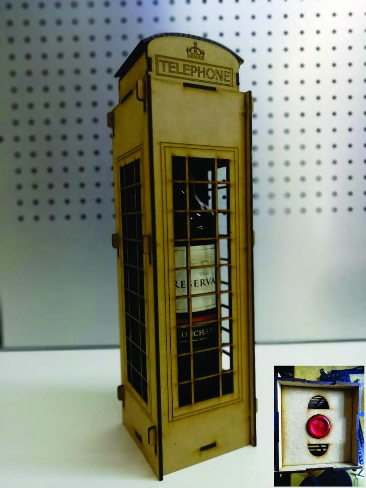London Telephone Box Wine Holder Box Free DXF File