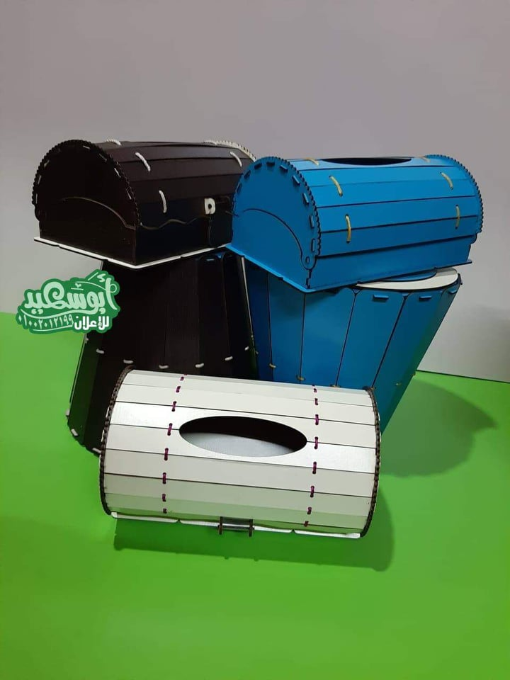 Laser Cut Tissue Box And Waste Paper Basket Dustbin Set Free DXF File