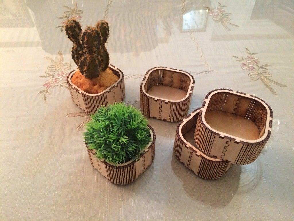 Laser Cut Wooden Mini Box Flower Box Vase Free DXF File