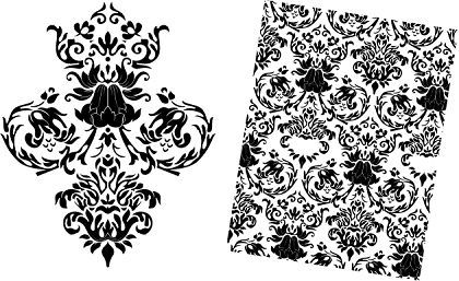 Baroque Floral Vector Pattern Free DXF File