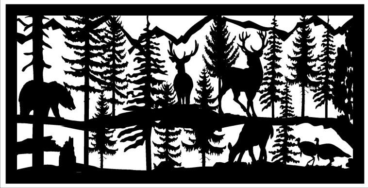 24 X 48 2 Turkeys 2 Bucks 1 Doe 1 Bear Plasma Art Free DXF File
