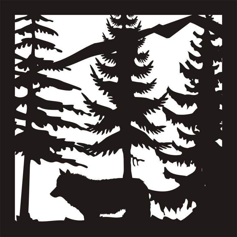 24 x24 New Wolf Trees Mountain Plasma Art Free DXF File