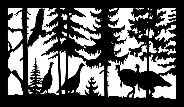 28 X 48 4 Turkeys And Eagle Plasma Art Free DXF File