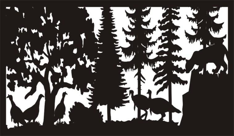 28 X 48 Mountain Lion And Turkeys Plasma Art Free DXF File