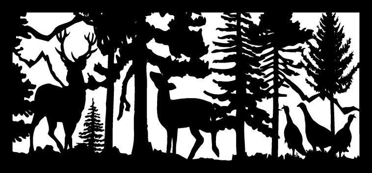 28 X 60 Buck Doe Three Turkeys Mountains Plasma Art Free DXF File