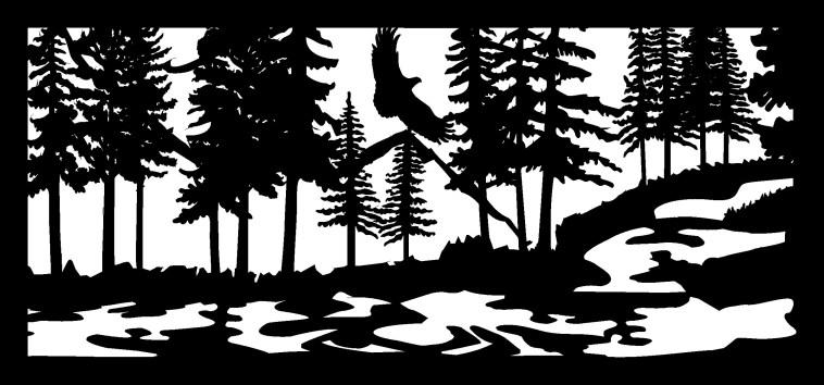 28 X 60 Eagle Stream Mountains Plasma Art Free DXF File