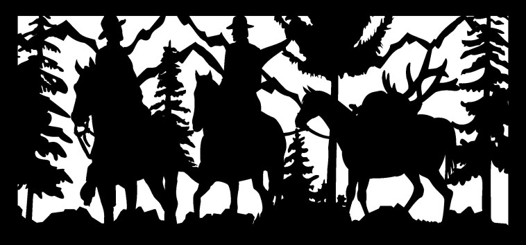 28 X 60 Two Hunters Packing Out Their Elk Plasma Art Free DXF File