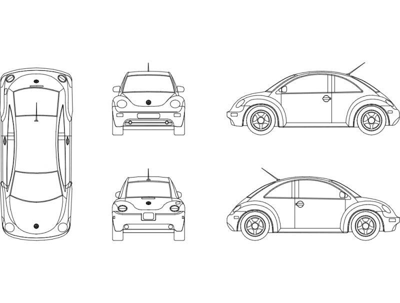 Beetle Car Sticker Free DXF File