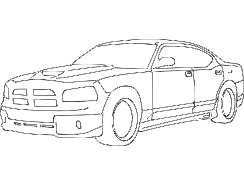 Dodge Charger Car Free DXF File