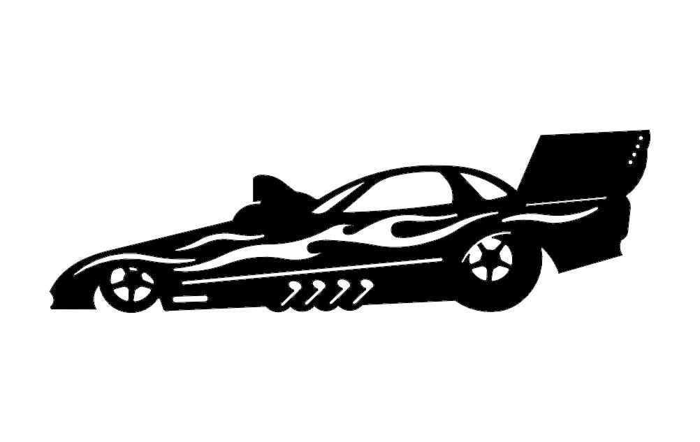 Silhouette Sticker Drag Car Free DXF File
