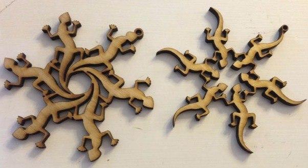 Laser Cut Snowflake Lizard Flake Free CDR Vectors Art