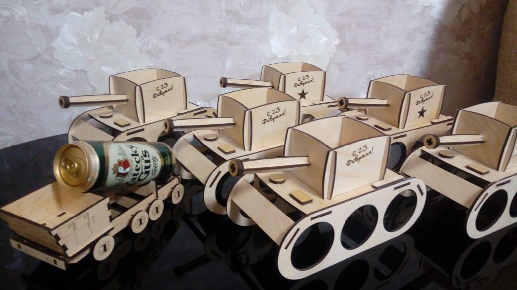 Laser Cut Tank Model Beer Caddy Free CDR Vectors Art