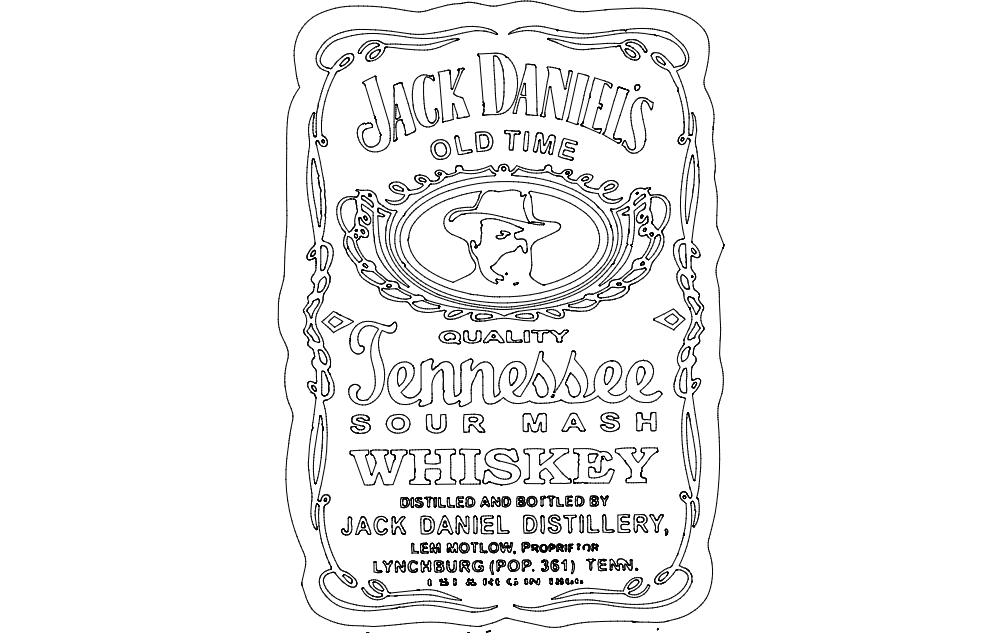 Jack Daniel Tennessee Whiskey Free DXF File