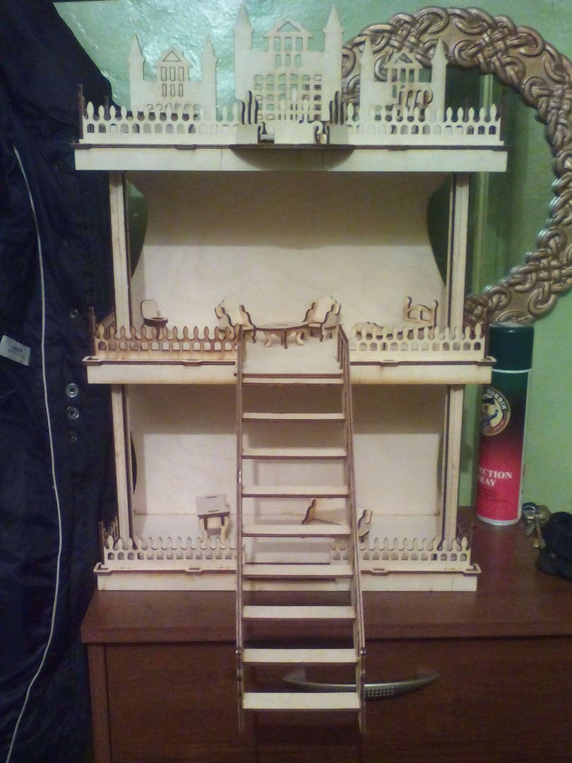Laser Cut Doll House Free DXF File