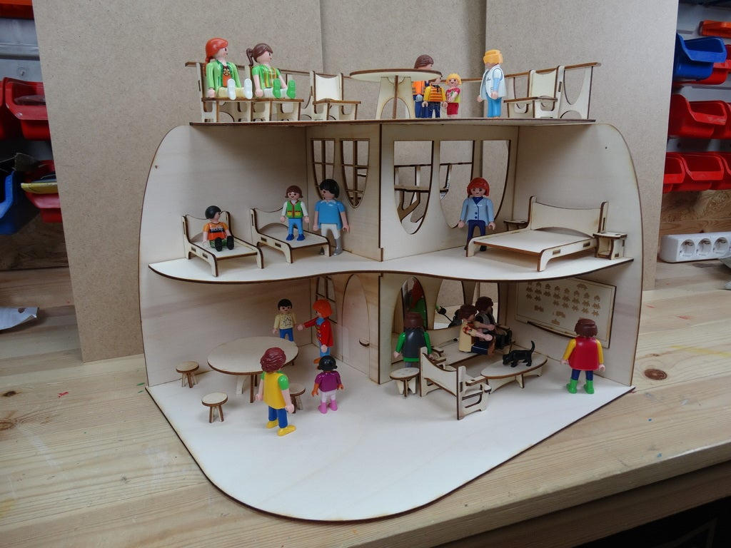Modern House Wood Doll House Children Toys Free DXF File